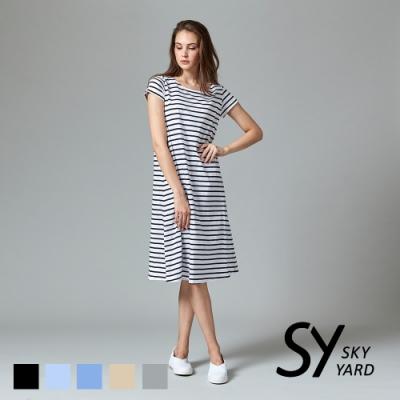【SKY YARD 天空花園】都會休閒條紋修身短袖洋裝-白