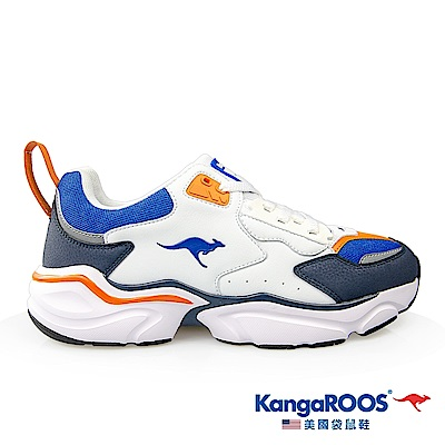 KangaROOS 美國袋鼠鞋 男 SWING 復古籃球老爹鞋(藍/白/桔-KM01076)