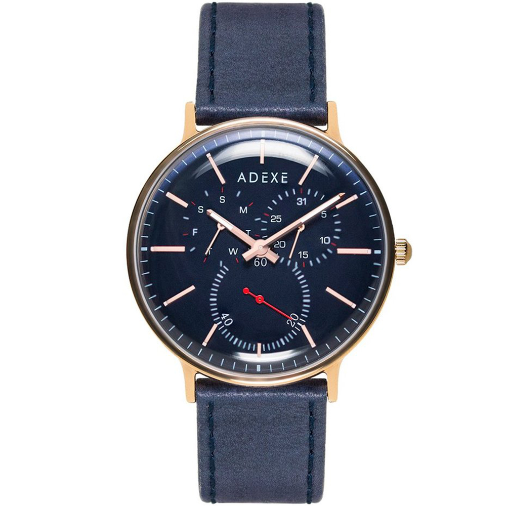 ADEXE 英國時尚手錶 THEY三眼系列 藍錶盤x玫瑰金錶框皮革錶帶41mm @ Y!購物