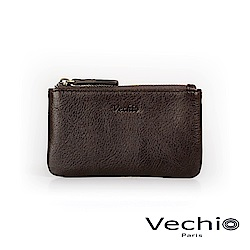 VECHIO - 經典商務男仕系列-拉鍊零錢包 - 棕