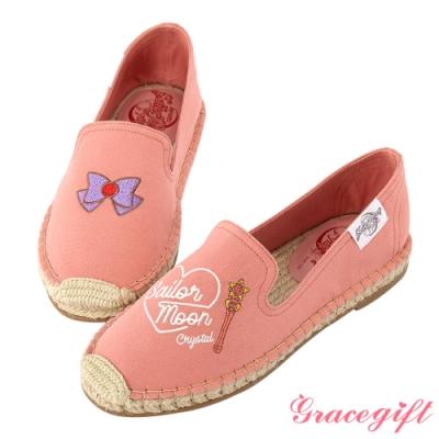 Grace gift-美少女戰士不對稱圖案麻編鞋 深粉
