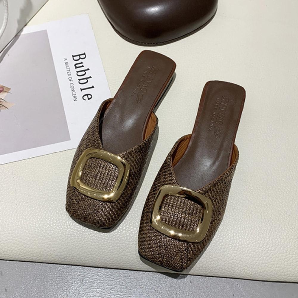 KEITH-WILL時尚鞋館-(現貨)簡約時尚優雅方扣穆勒涼拖鞋(共1色)