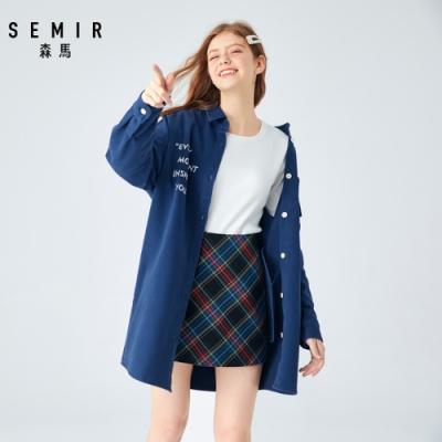 SEMIR森馬-OVERSIZE胸前刺繡長版襯衫外套-女
