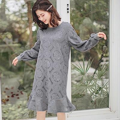 滿版細緻蕾絲魚尾裙襬拋袖洋裝-OB大尺碼