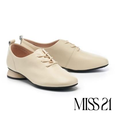 低跟鞋 MISS 21 英倫風純色百搭全真皮牛津低跟鞋-米