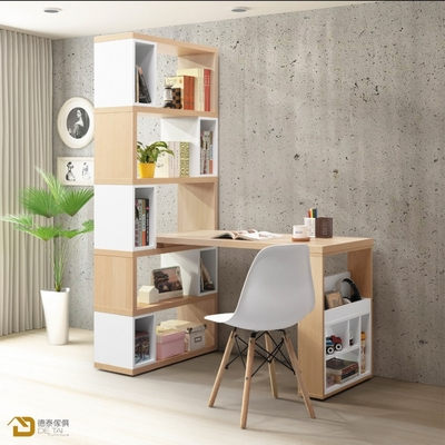 D&T 德泰傢俱 Buck原切色4尺H型活動書櫥桌組 寬120~140×深80×高192cm