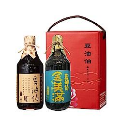 豆油伯 純釀缸底美滿醬油牡丹禮盒(2入/盒)