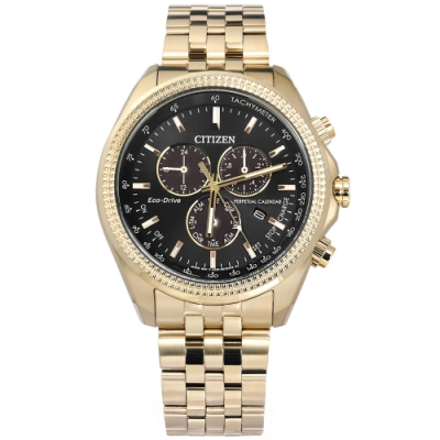 CITIZEN 光動能 萬年曆 不鏽鋼手錶(BL5563-58E)-黑x鍍香檳金/43mm
