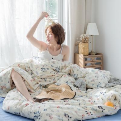 La Lune MIT精梳棉200織紗加大床包新式兩用被五件組 幽香呢喃