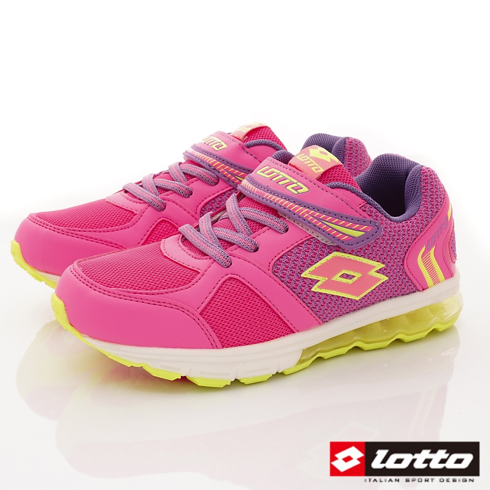 Lotto義大利運動鞋 氣墊夜光鞋款 FI803粉紅(中大童段)C