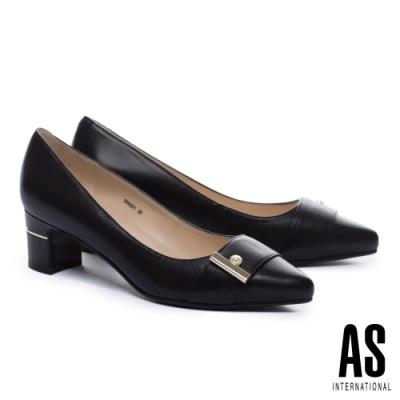 高跟鞋 AS 典雅珍珠帶釦全真皮尖頭高跟鞋-黑