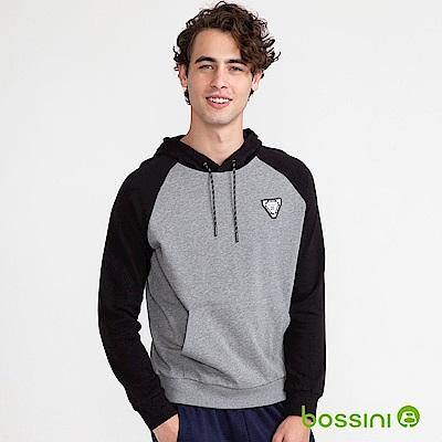 bossini男裝-連帽牛角長袖厚棉上衣灰黑