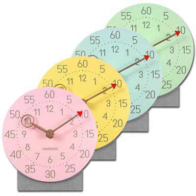 居家擺飾清水模無印北歐風辦公桌客廳臥室床頭 桌上型 靜音座鐘 時鐘 - 粉/黃/藍/綠