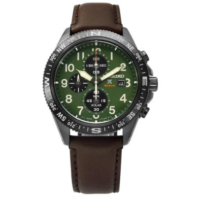 SEIKO 精工 PROSPEX 太陽能 三眼計時 防水牛皮手錶-綠x深灰框x褐/43mm