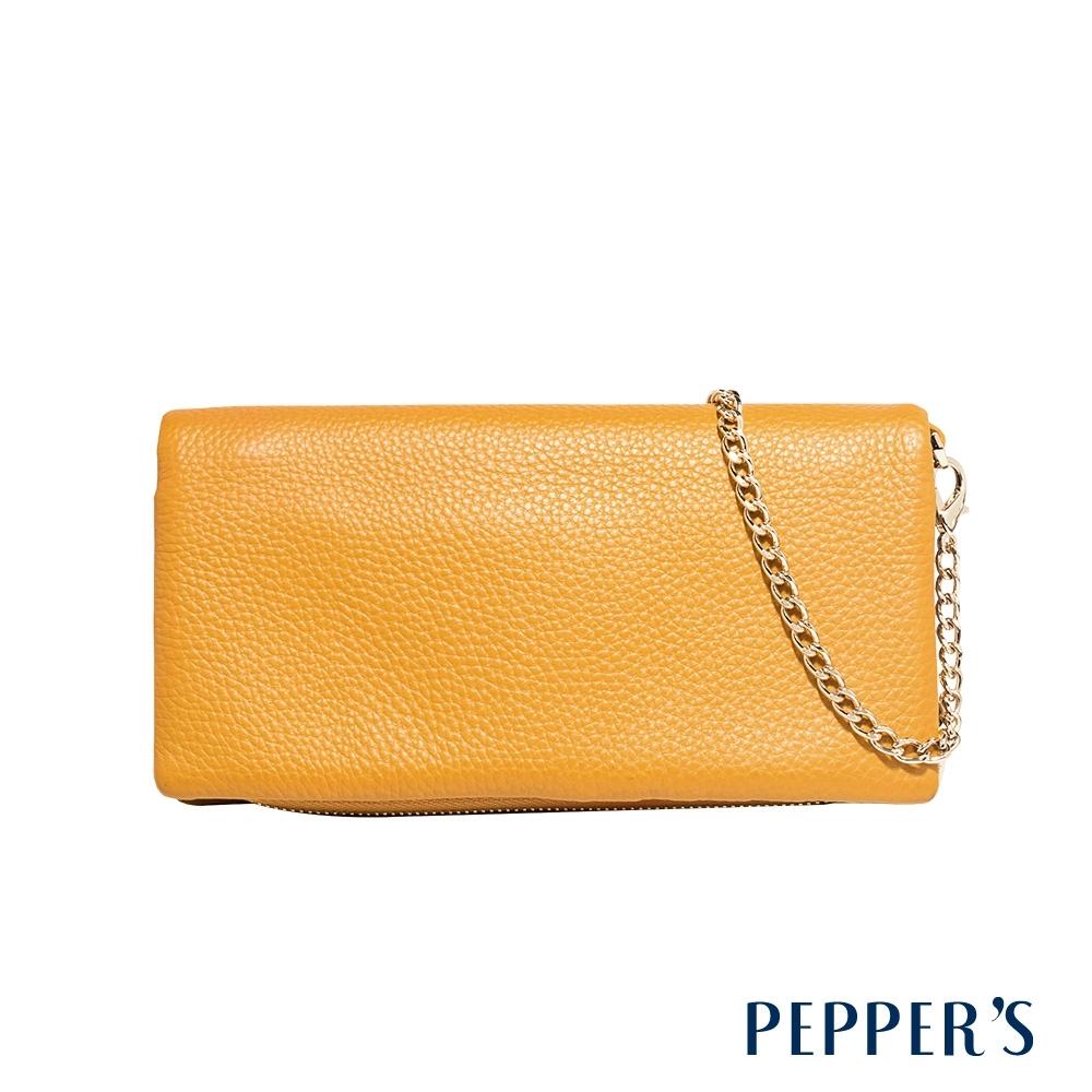 PEPPER'S Beverly 牛皮金鍊長夾 - 芥末黃