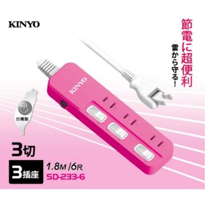 KINYO 2P2孔3開3插可轉向插頭延長線1.8M6尺