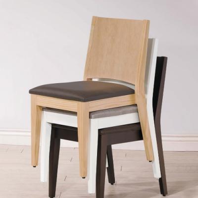 H&D 文森原木亞麻紋皮餐椅