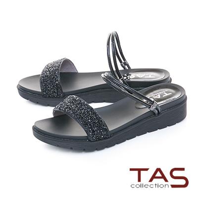 TAS滿版水鑽2way繫帶一字內增高涼拖鞋-閃耀黑