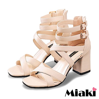 Miaki-高跟鞋韓國首選細帶羅馬涼鞋-杏