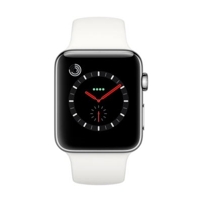 [無卡分期-12期Apple Watch S3(GPS+網路) 42mm銀色鋁+白色錶帶