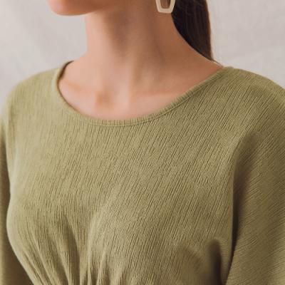 AIR SPACE LADY 簡約背鏤空鬆緊針織洋裝(綠)