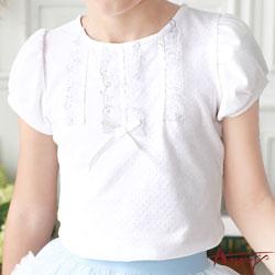 Annys公主袖蕾絲蝴蝶結設計短袖上衣*7326米白
