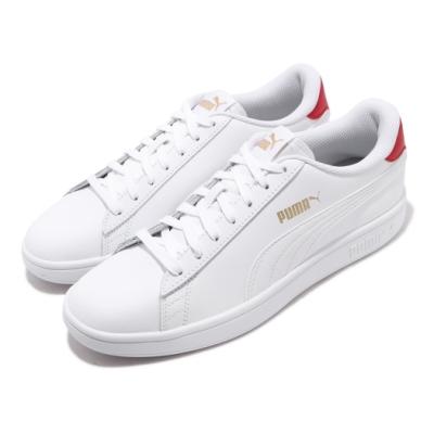 Puma 休閒鞋 Smash v2 L 運動 男女鞋 基本款 簡約 情侶穿搭 舒適 皮革 白 紅 36521517