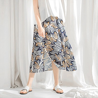 雪紡印花配色開衩襬鬆緊長裙-OB大尺碼