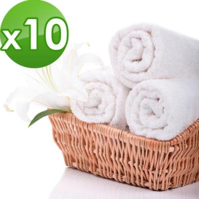 花季 優雅生活-五星級飯店御用白色平織方巾 10件組