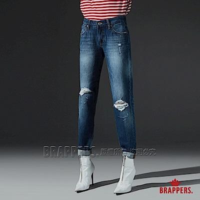 BRAPPERS 女款 Boy friend系列-中低腰直向彈性膝蓋割破八分褲-藍