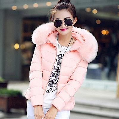 【KISSDIAMOND】大毛領修身顯瘦連帽羽絨棉外套粉色