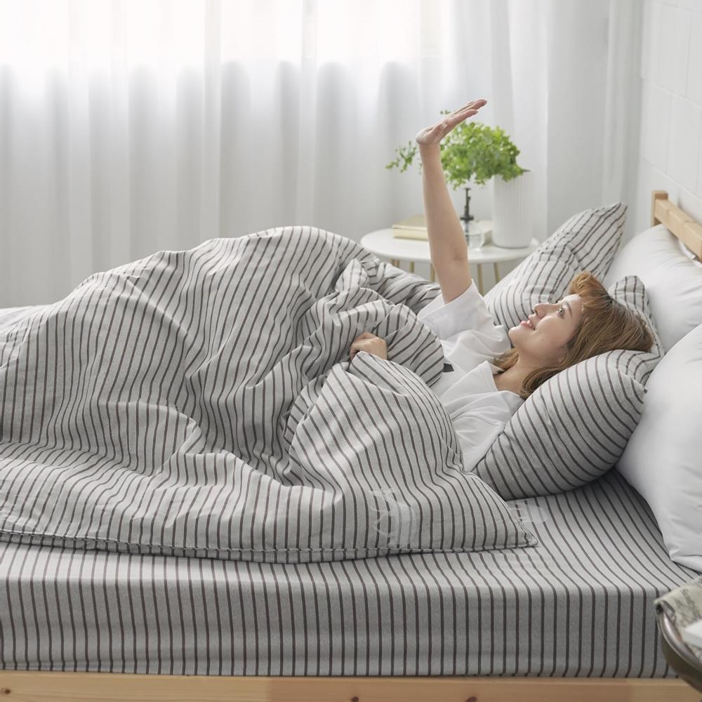 BUHO 天然嚴選純棉雙人加大三件式床包組(浮生映流)