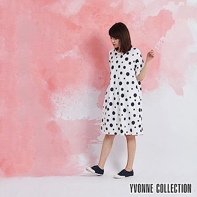 YVONNE 圓點圓領短袖洋裝-白