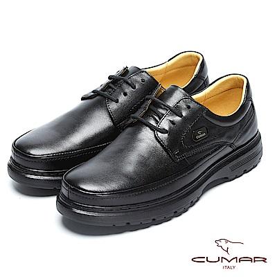 CUMAR舒適真皮 萬年不敗款綿羊綁帶皮氣墊鞋-黑