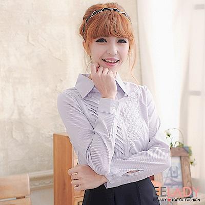 EELADY-OL知性穿搭斜紋長袖襯衫(紫色)