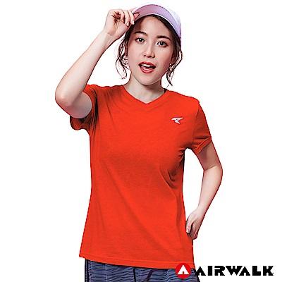 【AIRWALK】女款V領短T-中橘