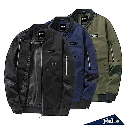 外套 棉質造型拼接夾克 三色-HeHa