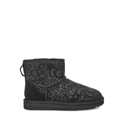UGG短靴 經典迷你閃亮塗鴉短靴 街頭潮流雪靴