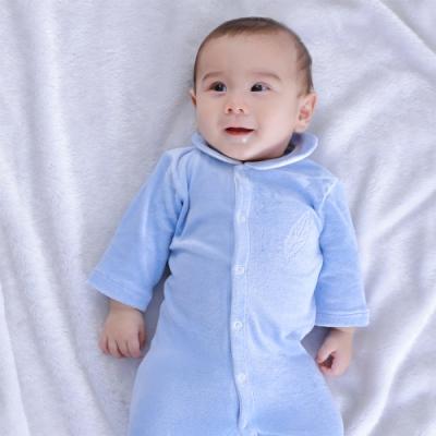 【Deux Filles有機棉】棉絨包腳連身衣-粉藍