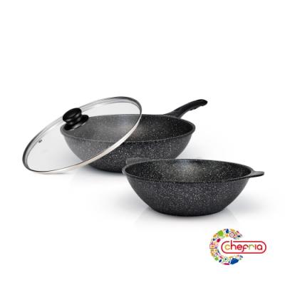 韓國Chefria 花崗岩不沾雙鍋3件組28cm(炒鍋+湯鍋+鍋蓋)(快)