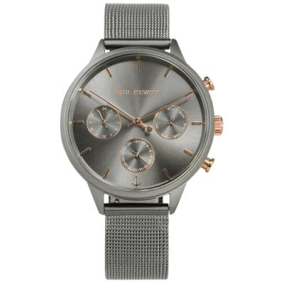 PH PAUL HEWITT 三眼三針 藍寶石水晶玻璃 米蘭編織不鏽鋼手錶-鍍灰/38mm