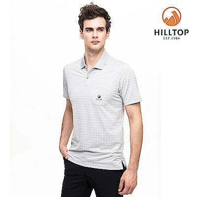 【hilltop山頂鳥】男款吸濕快乾抗菌抗UVPOLO衫S14MG8淺灰