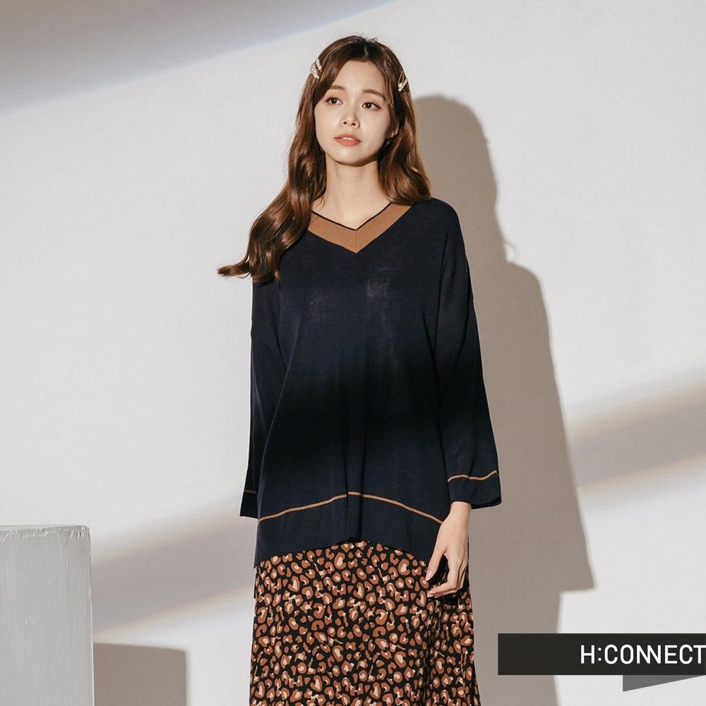H:CONNECT 韓國品牌 女裝-V領滾邊薄針織上衣-藍