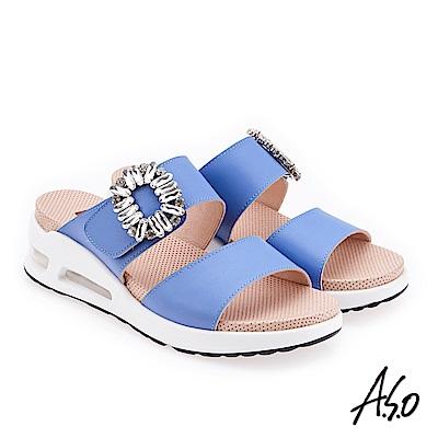 A.S.O 微笑彈力 鑽飾魔鬼氈牛皮厚底涼拖鞋 藍