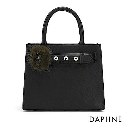達芙妮DAPHNE-毛毛皮帶扣手提方包-黑