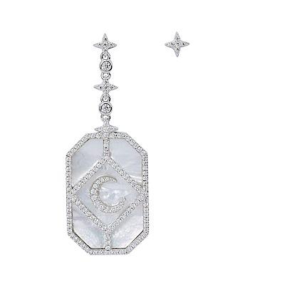 apm MONACO法國精品珠寶 珍珠母貝晶鑽月亮裝飾不對稱耳針式垂墜耳環