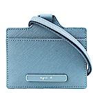 agnes b.橢圓LOGO防刮紋証件夾(附帶)(藍綠)