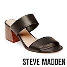 STEVE MADDEN-CATERINA真皮寬版二字帶涼跟鞋-黑色