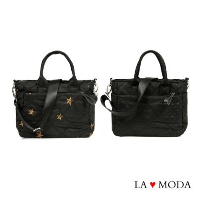 La Moda 可愛滿點星星點點圖案小香風菱格紋多口袋多背法大容量肩背斜背托特包