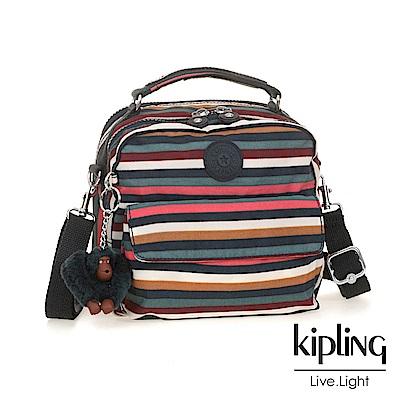 Kipling 後背包 彩色拼接條紋-小